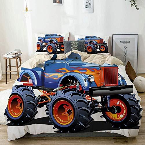 Soefipok Completo Copripiumino Beige, Monster Truck Cartoon Enormi Pneumatici Fuoristrada Pesanti Grandi Ruote per trattori Turbo, Set Biancheria da Letto Decorativo 3 Pezzi con 2 federe per Cuscino