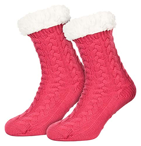 Piarini 1 Paar Kuschelsocken mit ABS Sohle - warme Damen Socken - Wintersocken mit Anti Rutsch Noppen - dicke Haussocken pink rosa