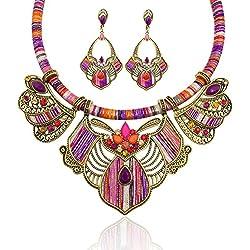 FENICAL Collar Pendientes Étnico Estilo de Boho Vintage Declaración para Mujeres Niños Joyería Estilo Nacional Conjunto de joyería moda (Púrpura)
