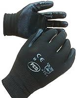 12 Pairs Of Nitrile Coated Nylon Work Gloves Size 9 EU