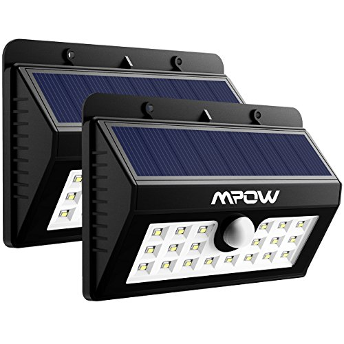 Mpow 20 LED Solar Lights Motion Sensor Security Light, 3-in-1 Wireless Weatherproof Security Solar Light Motion Sensor Lamp (3 Intelligent Modes, Black) Test