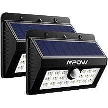 2 Unidades Lampara Solar 20 LED Impermeable con Sensor de Movimento, Mpow 1500mAh Foco Solar para Jardín Casa Camino Escaleras Pared, Iluminación de Exterior y