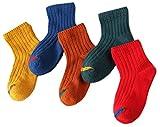 5 Par Calcetines de Canalé para Niños Algodón Invierno Calcetines Calientes, para Niños Niñas 3-5