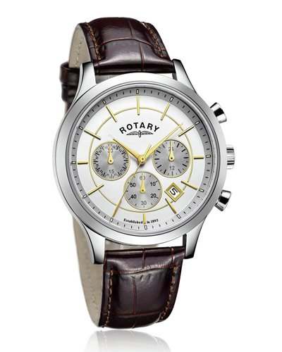 Rotary - Reloj de pulsera para hombre, esfera plateada, correa marrón de dos tonos