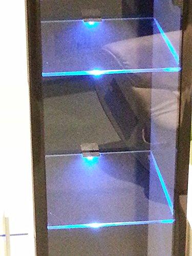 LED Glasregalbeleuchtung - LED Vitrinenbeleuchtung, 4 x LED Clipleuchten - mit je 3 LED Lichtfarbe blau (Glas Schrank)