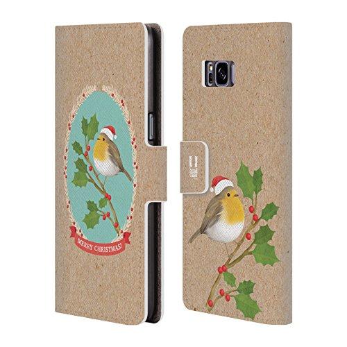 Head Case Designs Rotkelchen Weihnachtszeit Brieftasche Handyhülle aus Leder für Samsung Galaxy S8
