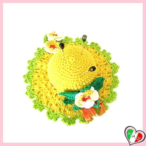 Gelbe Häkeln Hut Nadelkissen mit bunten Blumen aus Baumwolle - Größe: ø 11 cm - Handmade - ITALY