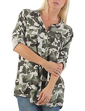 [Patrocinado]malito Blusa con Camuflaje-Print Túnica Parte Superior Top 3784 Mujer Talla Única