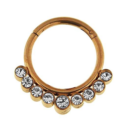 16 Gauge - 10 MM Durchmesser stieg Gold eloxierte Chirurgenstahl 9 Kristallsteinen gepflastert klappbar Segment Septum Nase Piercing Ring