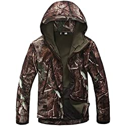 Caza Camping abrigos impermeables Soft Shell Trees camuflaje chaqueta con capucha (XXL)