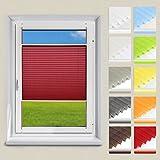 OUBO Plissee Jalousie Faltrollo Klemmfix ohne Bohren 50 x 120 cm (BxH) Dunkelrot Sichtschutz Klemmträgern für Fenster & Tür