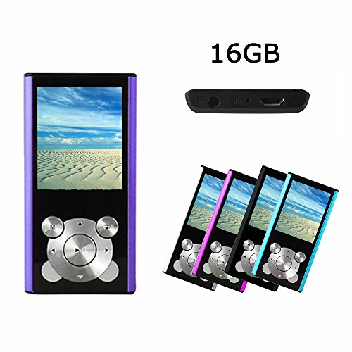 Crillutar 16GB Portable MP3 Player MP4 Player Interner Speicher MP3 Musik Media Player Video Spieler / Musik Player/Voice Recording Player Medien,mit Foto Viewer,Stützspiele und E-Book Reader(Purpur)