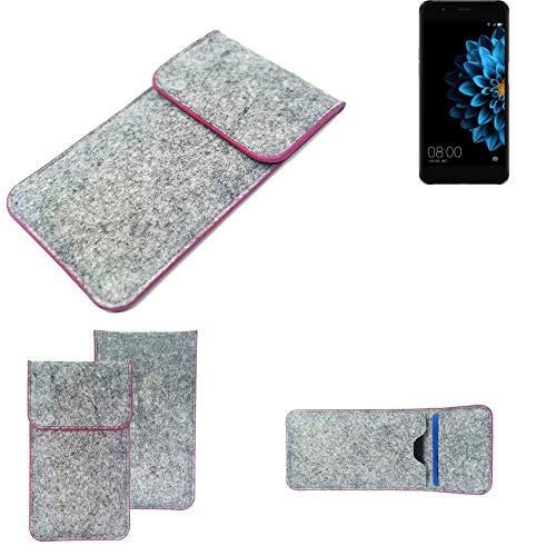 K-S-Trade® Filz Schutz Hülle Für -Hisense A2- Schutzhülle Filztasche Pouch Tasche Case Sleeve Handyhülle Filzhülle Hellgrau Pinker Rand