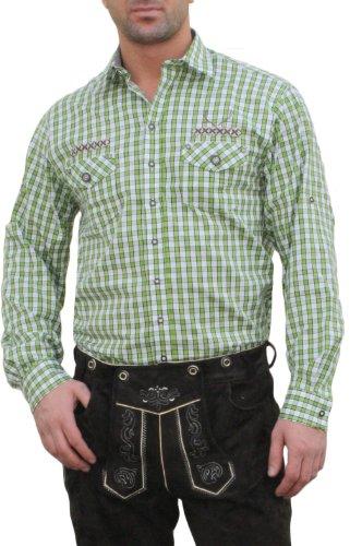 Trachtenhemd für Lederhosen mit Verzierung grün/kariert, Hemdgröße:3XL