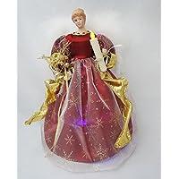 Cosette Natale Timed Angelo Puntale dell'albero di Natale della luce da 12 pollici Oro Argento & Rosso