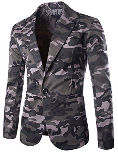 Bevalsa Modisch Herren Anzug Jacke Sakko Slim Fit Blazer Business Freizeit Smoking Camouflage Freizeit Casual Kostüme Festliche Sakko Grösse Gr.48-54