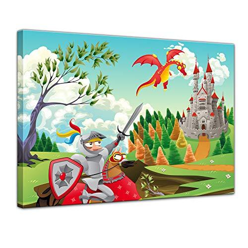 Kunstdruck - Kinderbild - Ritter und Drachen - 70 x 50 cm - Bilder als Leinwanddruck - Kinder - Drache - Pferd und Reiter vor einer Burg