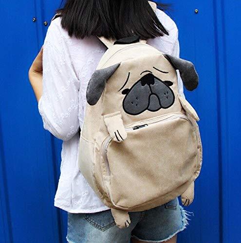 MJJKIO Gesicht Korean Hund Eichhörnchen Tier Rucksack Gymnasiasten Paare Harajuku Nette Mädchen Rucksack 41,5x21x12 cm Großen Hund Kopf -