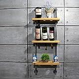 RF Storage&Shelves 45 * 15cm a tre strati di metallo mensola portabottiglie vino decorativo da appendere alla parete legno antico cantinetta porta biberon fj-zn1d-019a0