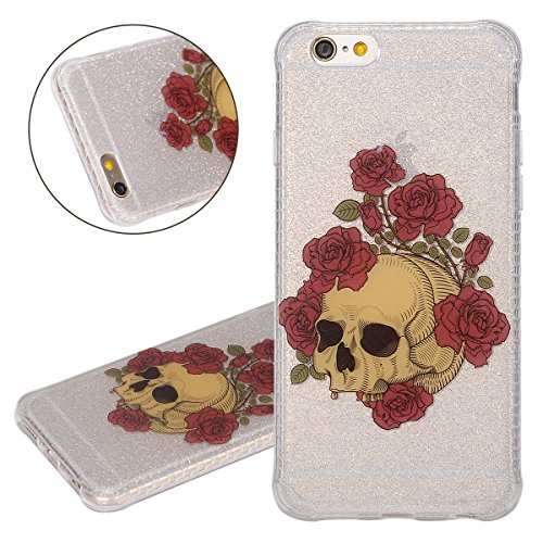 Custodia iPhone 6, ISAKEN Cover per Apple iPhone 6 (4.7) [TPU Shock-Absorption] - Glitter Bling Scintille Argento Colorate Pattern Design Custodia Case Ultra Sottile TPU Morbido Protettiva Cassa Bump Cranio rose