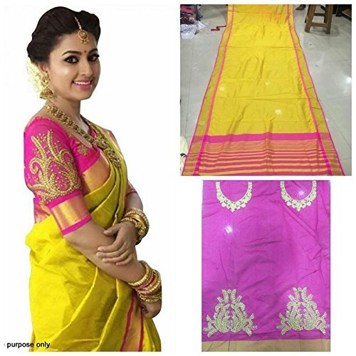 Whynot Women's Cotton Silk Yellow Color Saree With Blouse Pcs