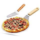 Pizzaschieber Pizzaschaufel Edelstahl, Pizzaheber mit Holzgriff zum Backen selbst gemachte Kuchen, Pizzen, Kuchen, Torten, Pi