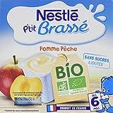 Nestlé bébé P'tit Brassé BIO Pomme Pêche - Laitage dès 6 mois - 4 x 90g - Pack de 6