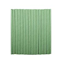 tecmac Eco-Friendly and Disposable White - Green Zigzag Paper Straws | 6 mm | 100 Pieces