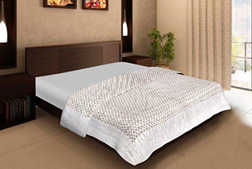 Rajasthan Artesanía Beige seda impreso doble Cama Colcha/colcha/edredón de AC/AC Comforter/Razai King