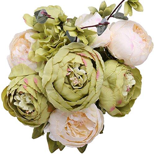 StarLifey Vintage Pfingstrosen, kunstblume pfingstrose Bouquet, Hochzeitsdekoration kunstblumen seide strauß home deko Grün -