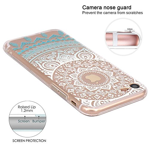iPhone 7 / iPhone 8 Case, Walmark Beautiful Clear TPU Soft Case Rubber Silicone Skin Cover for iPhone 7 / iPhone 8 4.7inch- Blue Circle Flower Tribal Mandala