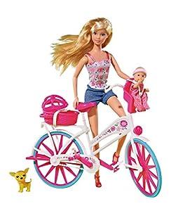 Simba 105739050 Steffi Love - Muñeca con bicicleta, bebé y accesorios Importado de Alemania