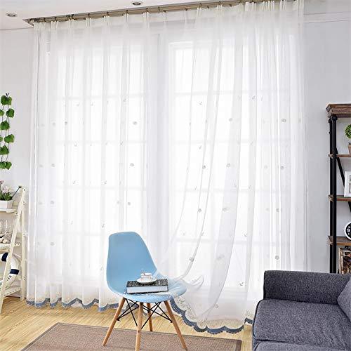 JIAOXM Schlafzimmer bestickte Vorhänge, zarte Rose bestickte Vorhänge, durchscheinende weiße Gaze, für Wohnzimmer/Hotel/Café, 1 Panels,300×270cm(118×106inch) -