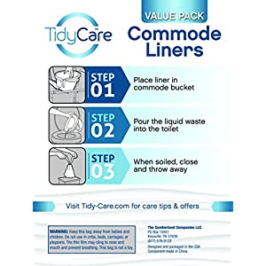 TidyCare Hygienebeutel- Vorteilspackung – Einweg-Toilettenstuhlbeutel – 48 Hygienebeutel – Toilettenstuhl für Erwachsene – Beutel für Toiletteneimer – universelle Passform