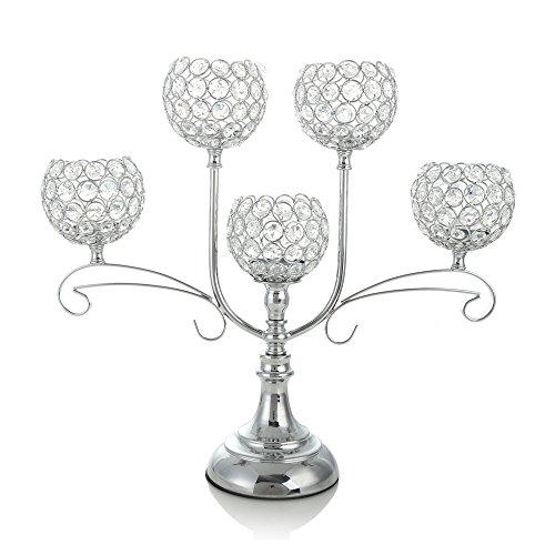 VINCIGANT Chandelier en Cristal d'argent pour la célébration de Mariage Salle à Manger Salon Décoration Table Centre de Table