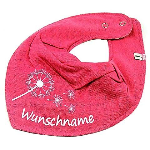 HALSTUCH PUSTEBLUME mit Namen oder Text personalisiert pink für Baby oder Kind (Schmetterling Tuch Lätzchen)