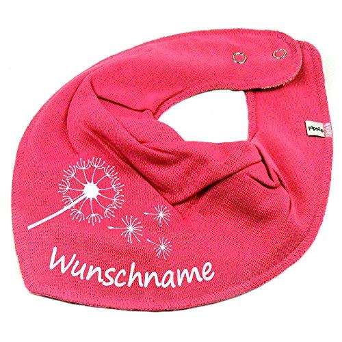 HALSTUCH PUSTEBLUME mit Namen oder Text personalisiert pink für Baby oder Kind