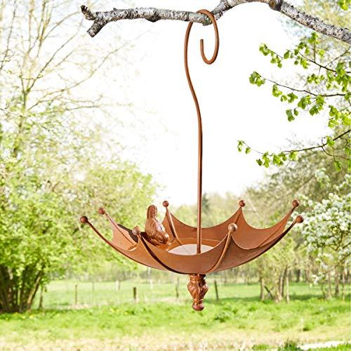 Pureday Vogeltränke Schirm - Gartendeko - Vogelbad zum Hängen - Metall - Rost