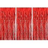 TUPARKA 3 Pezzi Tende di stagnola Tenda di Frangia Metallizzata di Buon Natale per la Festa di Compleanno Sfondo Fotografico Puntelli Decorazioni, Rosso