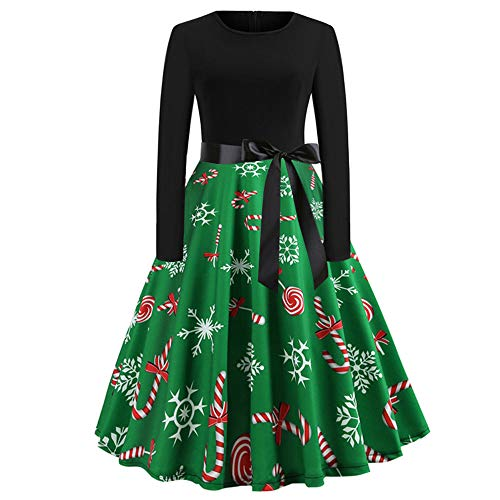 (Linkay Ladies Women Christmas Dresses Print Top Hooded Pullover Long Sleeve Bow Vintage Evening Party Swing Red)
