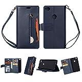 KANTAS Huawei P8 Lite 2017 Case Hülle, Brieftasche Flip Case Geldbörse mit 9 Kartenfächer PU Leder Handyhülle Ledertasche mit Magnet Standfunktion Geldbeutel Schutzhülle mat Handseil, Navy Blau