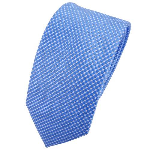 Schmale TigerTie Seidenkrawatte blau hellblau silber gepunktet - Krawatte Seide