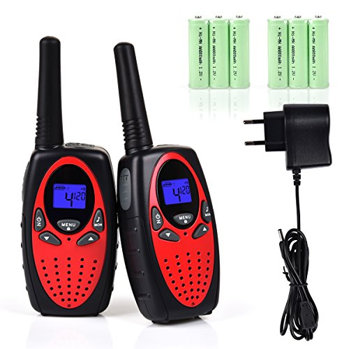Funkprofi Walkie Talkie Set für Kinder PMR Funkgerät 8 Kanäle 2-Wege Radio Funkhandy Interphone mit LCD Display 2 Stück Rot