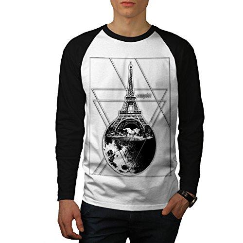 wellcoda Eiffel Turm Mond Mode Männer L Baseball LS T-Shirt