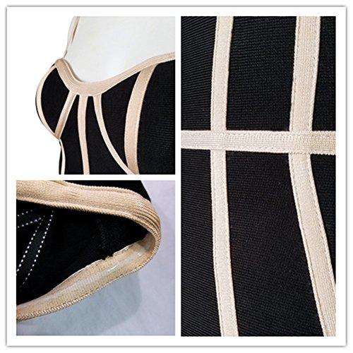 Whoinshop Damen Strappy Bustier Bodycon Kleid Figurbetontes Bandage Partykleider Schwarz