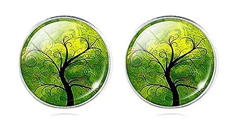 Art Tree Stud Earrings (Green 1)