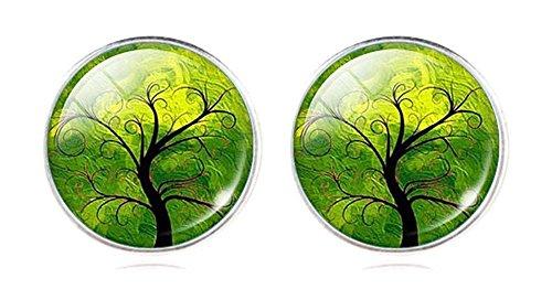 Orecchini artistici, tema: albero, orecchini a lobo con farfalla posteriore, per orecchie forate, lega di zinco, colore: Green 1, cod. na