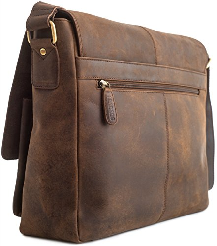 LEABAGS Cambridge sac bandoulière rétro-vintage en véritable cuir de buffle - CrazyVinkat Noix de muscade