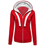 Kapuzenpullover Damen Warm Mumuj Fashion Solid Langarm Mantel Frauen Slim   Sport Strickjacke Hoodies Mädchen Sweatershirt Jumper Reißverschluss Herbst Winter Boleros Capes (Rot, 2XL)