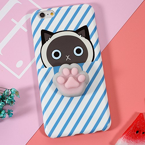 iphone 7 plus Hülle, Squishy Cat 3D weiche Silikon Cartoon iphone 7 plus TPU Hülle für nail pinch finger pinch, die Prise des Cartoons für Entspannung H